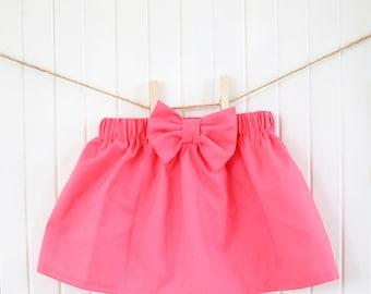 Pink Baby Skirt/ Girls Skirt/ Flamingo Pink/ Bow/ Ruffle/ High waisted/ Dress/ Baby Girl/Newborn/Toddler/ Girl/ Bubblegum Pink/ Spring/Girls