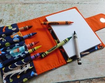 Personalized Crayon Organizer - Monster Crayon - Crayon Wallet - Homeschool Art - Homeschool Kit - Crayon Bag Holder - Crayon Holder