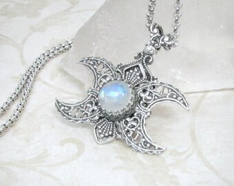 Goddess Within Rainbow Moonstone Necklace, Triple Moon Goddess Silver Pendant, Triple Goddess Pagan Jewelry Divine Feminine Wiccan, Moonsong