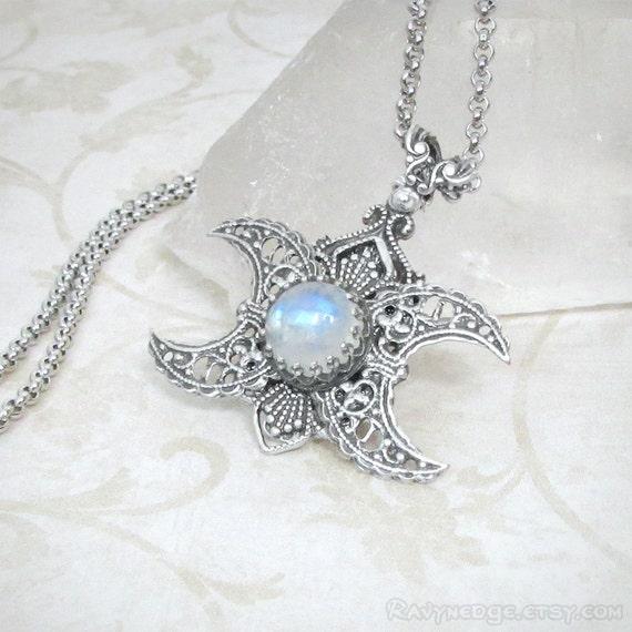 Goddess within rainbow moonstone necklace triple moon goddess aloadofball Image collections