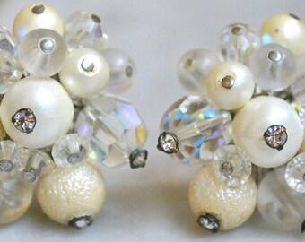 Vendome Ivory Bead, Crystal and Rhinestone Earrings!