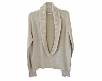 Vintage La Boutique women blouse sweater top beige Silk and Angora