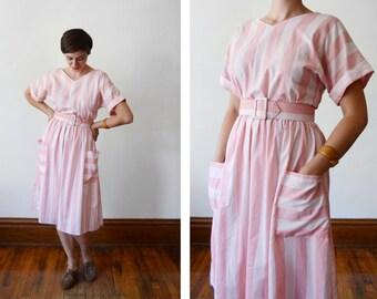 1980s Pink Striped Dress - S/M