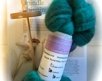 Beginning Drop Spinning Kit Top Whorl, Fiber, Hand dyed, Instructions, spindle, wool