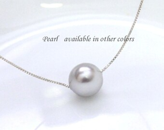 Light Gray Pearl Necklace, Pearl Necklace, Wedding Necklace, Large Pearl Necklace, Floating Pearl Necklace, Bridesmaid Gift Necklace