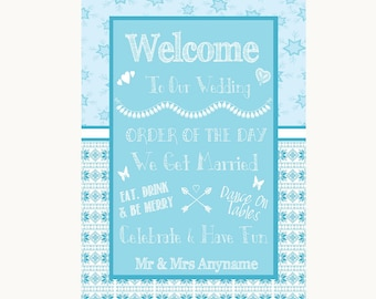 Winter Blue Welcome Order Of The Day Personalised Wedding Sign