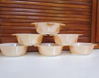 Fire King Peach Luster 12 Ounce Casserole Dessert Bowls