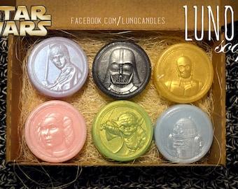 Star wars heroes soap set of 6, starwars lover gift, geek soap, Yoda, Darth Vader, C-3PO, Luke Skywalker, Princess Leia, R2-D2, gift for boy