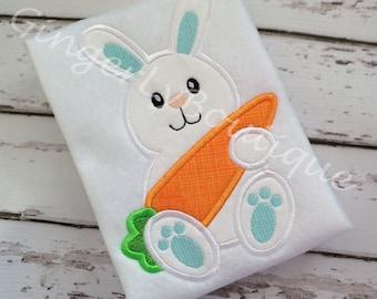 Boy Bunny with Carrot Shirt or Bodysuit, Boy Easter Shirt, Easter Egg Hunt Shirt, Boy Easter Bunny Shirt, Easter Shirt for Boys, Easter