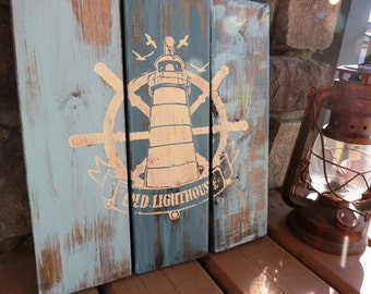 Handpainted Distressed Vintage Lighthouse Beach Sign - Weathered, Nautical, Ocean, Sailing, Sea, Reclaimed Look