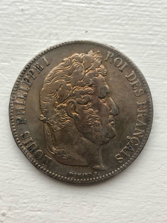 1839 B Louis Philippe I French Silver 5 Francs Coin (VF)