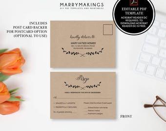 response card, printable wedding, pdf, rsvp card, rsvp template, wedding rsvp, wedding template, printable rsvp, rsvp, typography, black, 13