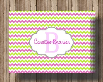 PERSONALIZED NOTECARDS CHEVRON Stripe Pink and Green/ Folded Notecards for Women or Girls/ Boxed Set of 10 Chevron Notes/ Chevron Stationery