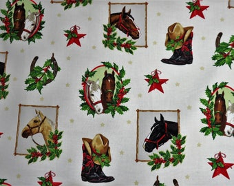 Ivory Western Collage Horses Holiday Robert Kaufman Fabrics #6285 By the Yard