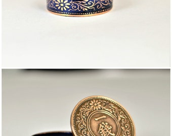 Coin Ring, Japanese Coin Ring, Coin Ring, Bronze Ring, Blue Ring, Japanese Jewelry, Coin Rings, Japanese Art, Coin Art, Japanese Ring