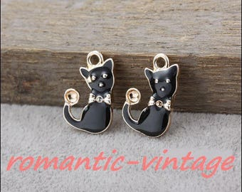 5 charms, pendant black enamel and goldtone 20 * 13mm