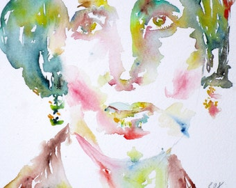 VIRGINIA WOOLF - original watercolor portrait - one of a kind!