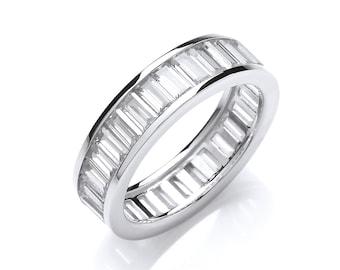 925 Sterling Silver Channel Set Full Eternity Baguette Cut Cz Ring