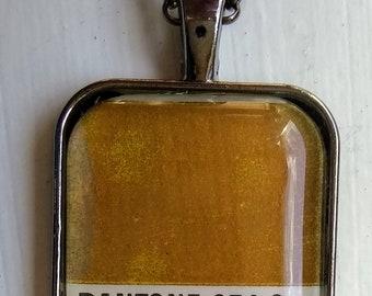 Pantone 874 Color Chip Silver Pendant Necklace