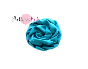 Turquoise Isabella Collection Ruffled Rosettes- You Choose Quantity- Rolled Rosettes- Rolled Rosettes- Rosettes- Flower- Supply- Headband