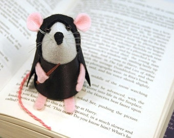 Severus Snape Mouse - collectable Harry Potter art rat artists mice cute soft sculpture Alan Rickman toy stuffed plush gift for bookworm