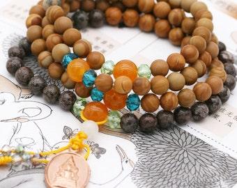 Pacifying 108 small japa mala (SJM) - wood jasper, snowflake obsidian, jade and amulet (BA)