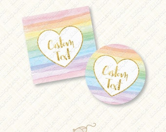 Personalized Rainbow Favor Tags and Cupcake Toppers with heart watercolor stripe tag gold foil custom text stripes digital diy pdf treat bag