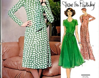 1970's DVF Vogue Sewing Pattern No. 1547 by Diane Von Furstenberg - Fitted and Flared Dress for Knits  Bust 31.5