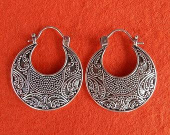 Alluring unique granulation silver technique Silver sterling hoop Earrings, handmade earrings, Jewelry Gift, silver earrings