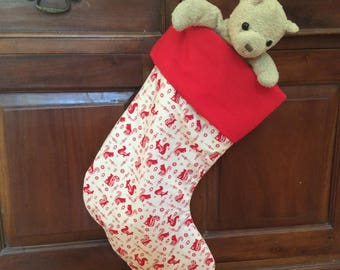 Christmas In July, Christmas Stockings,Large Quality Padded and Lined, 55cm Long, Cream Squirrel