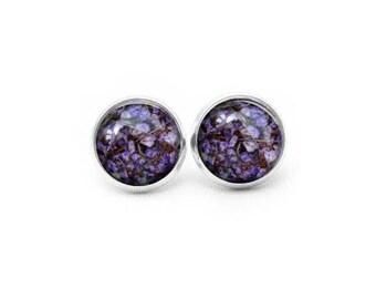 Purple Stud Earrings, Gift for Her, Gift for Women, Real Flower Jewelry, Resin Flower Earrings, Resin Jewelry, Resin Earrings, Stud Earrings