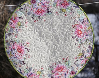 """PAPER PATTERN for a COLLAGE style Good Tidings Pink Spring Version 29"""" Round Table Topper Quilt"""