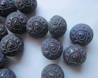 Purple Acrylic Puffy Beads 18mm 12 Beads