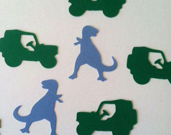 Dinosaur Safari Confetti Mix, SUV, ATV, T-rex, Jurassic Dino Birthday Adventure Party, Color Options