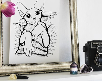Sphynx Cat Art - A4 Print - Sphynx Cat in a Sweater - Black and White - Cute Cat - Sphynx Illustration - Cat Lover Gift - Animal Lover Gift