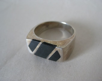 Black Onyx Sterling Ring Vintage Stone 925 Silver 7
