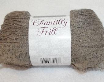 Sundance Chantilly Frill, Lace Yarn, Sashay Yarn, One Skein Scarf Yarn, Frilly Yarn, Sashay Scarf Yarn, Taupe Yarn, Taupe Sashay Yarn