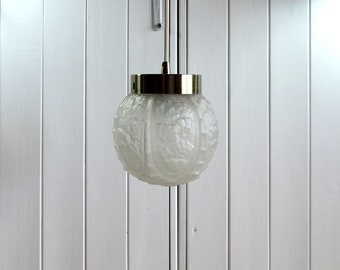 Art Deco glass ceiling light, pendant light, lampshade, in frosted glass, vintage french home decor, retro interior design