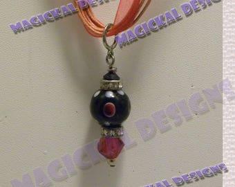 Black, Red, Pendant, on multi strand Ribbon, necklace, stocking stuffer, teacher gift,