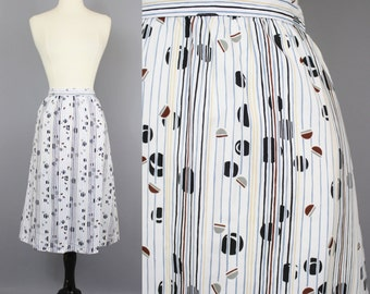 vintage 80s Coffee Bean Skirt / 1980s Striped Abstract Print Slim Midi Skirt / Small