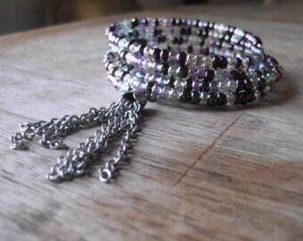 Iridescent Purple Braceletwith Tassel