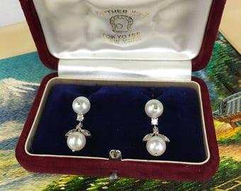 Mid Century Estate Pearl and Diamond Drop Earrings