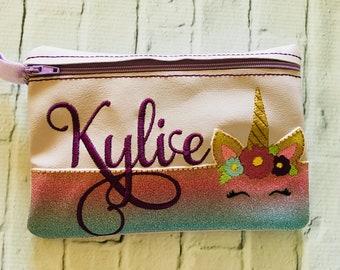 Personalized Unicorn zipper bag, Unicorn Makeup Case, Unicorn Pencil Case, Unicorn Zipper Pouch, Unicorn Cosmetic Bag, Custom Unicorn Bag