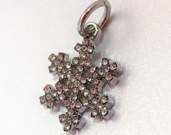 Christmas Snowflake Charm Snowflake Bead European Bracelet Bead Large Hole Bead Make Your Own Jewelry Making LynnsGemSupplies