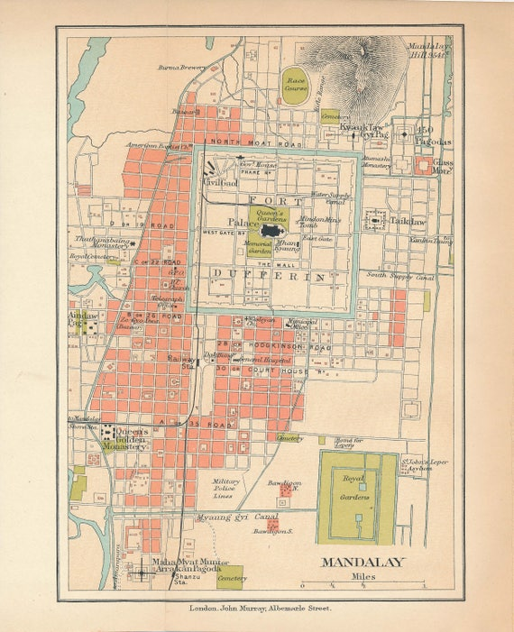 1909 Mandalay Myanmar Antique Map