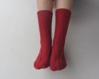 Hand Knit Woman's Red Socks - Mid calf- U.S Shoe Size 7, 8, 9.