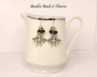 Bee Dangle Earrings, Queen Bee Charm Earrings, Bee Earrings, Charm Earrings, Charm Dangle Earrings, Bee Cluster Earrings, Biologist