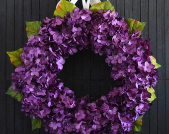 Purple Hydrangea Front Door Wreath