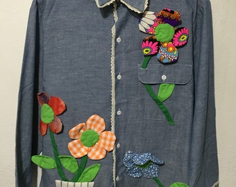 70's vintage chambray shirt hand stiched flower size L hippie