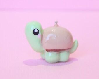 turtle charm - clay turtle - animal charm - polymer clay charm - cute clay charm - kawaii jewelry- bubblyteashop - cute charm -  dust plug